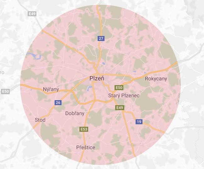 Orientační mapa působnosti